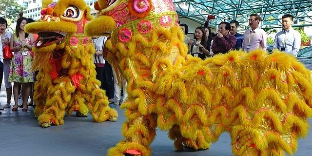 Новогодний танец льва в Китае